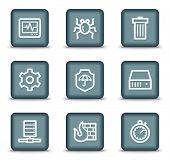 Botões quadrados da Internet segurança web ícones, cinzento