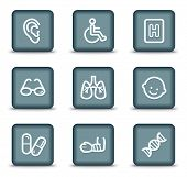 Medicine web icons set 2, grey square buttons