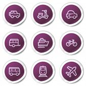 Transport web icons, purple stickers series