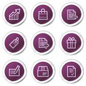 Shopping web icons set 1, purple stickers series