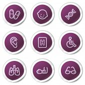 Medicine web icons set 2, purple stickers series