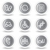 Medicine web icons set 2, circle grey glossy buttons