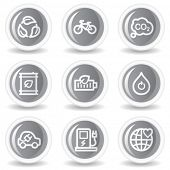 Ecology web icons set 4, circle grey glossy buttons