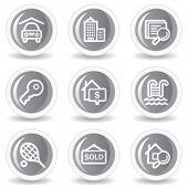 Immobilien Web-Icons, Kreis grau glossy buttons