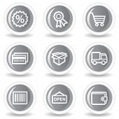 Warenkorb Web-Icons-set 2, Kreis grau glossy buttons