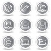 Drives and storage web icons, circle grey glossy buttons