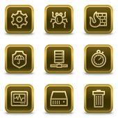 Botões de ícones, quadrado marrom de web de segurança de Internet