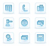 Finance web icons set 2, white square buttons