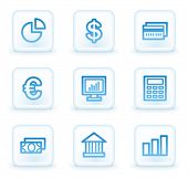 Finance web icons set 1, white square buttons