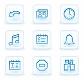 Organizer web icons , white square buttons