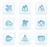 Travel web icons set 1, white square buttons