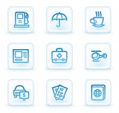 Travel web icons set 4, white square buttons