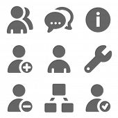 Users web icons, grey solid series