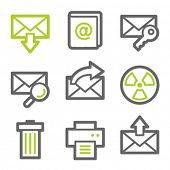 E-mail web icons set 2, green and gray contour series