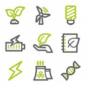 Ecology web icons set 5, green and gray contour series