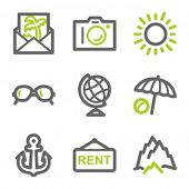 Travel web icons set 5, green and gray contour series