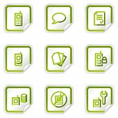 Mobile phone web icons set 2, green stickers series