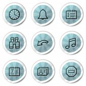 Organizer web icons, blue shine stickers series