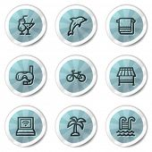 Vacation web icons, blue shine stickers series