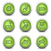 Electronics web icons set 2, green glossy set