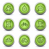 Ecology web icons set 4, green glossy set