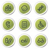 Medicine web icons set 2, green circle stickers