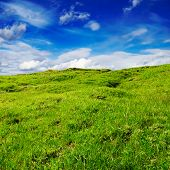 stock photo of mudslide  - overgrown a grass a hill on a background of the sky - JPG
