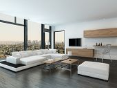 Luxury urban condominium or penthouse living room interior with a modular white suite and huge view  poster