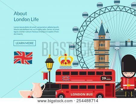 London Background Vector Cartoon London