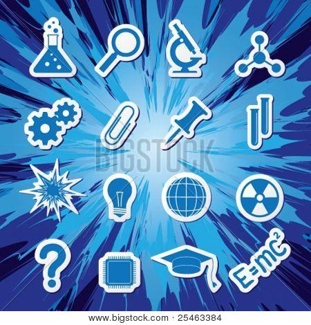 Постер, плакат: Векторные иллюстрации иконки на тему науки, холст на подрамнике