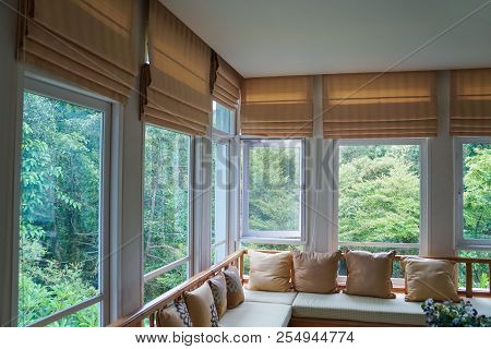 poster of Brown Roman Blind Shade Curtain Tree Forest Mountain Background Living Room