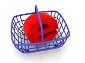 Consumer's basket with symbol for internet. 3d