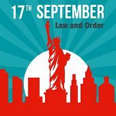 Law And Order 17 September Background. Flat Illustration Of Law And Order 17 September Vector Backgr poster