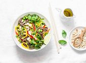 Pad Thai Vegetables Soba Noodles On Light Background, Top View. Healthy Vegetarian Food In Asian Sty poster