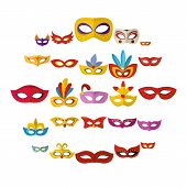 Carnival Mask Venetian Icons Set. Flat Illustration Of 25 Carnival Mask Venetian Icons For Web poster