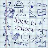 Back To School. Math Lesson On Paper poster