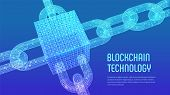 Block Chain. Crypto Currency. Blockchain Concept. 3d Wireframe Chain And Isometric Digital Block Wit poster