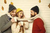 Men And Woman, Happy Family Fashion. Girl And Men At Seasonal Brick Wall. Happy Friends At Autumn Le poster