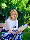 Romantic Poem. Enjoy Rhyme. Woman Happy Smiling Blonde Take Break Relaxing In Garden Reading Poetry. poster