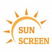 Sun Screen Logo. Flat Illustration Of Sun Screen Logo For Web Design poster