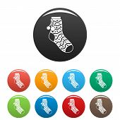 Sock With Pompon Icon. Simple Illustration Of Sock With Pompon Icons Set Color Isolated On White poster