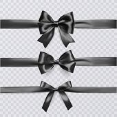 Set Of Decorative Black Bows With Horizontal Ribbon Isolated On Transparent Background, Bow And Ribb poster