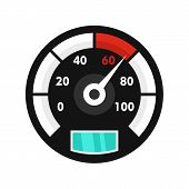 Motor Bike Speedometer Icon. Flat Illustration Of Motor Bike Speedometer Icon For Web Isolated On Wh poster