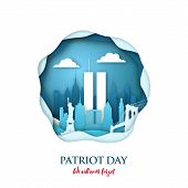 9/11 Patriot Day Paper Art Card With Twin Towers In New York Skyline. World Trade Center. Usa Patrio poster