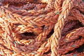 Nylon Rope At A Ship In The Harbor