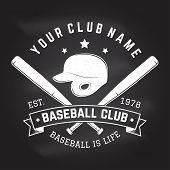 Baseball Club Badge On The Chalkboard. Vector Illustration. Concept For Shirt Or Logo, Print, Stamp  poster