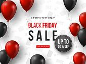 Black Friday Sale Banner. 3d Red And Black Realistic Glossy Balloons With Text And Discount Tag. Whi poster