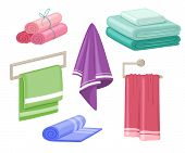 Household Towels. Cotton Bathroom Hygiene Towel Vector Isolated Set poster