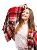 Autumn Outfit Accessories Ideas Concept. Woman Having Long Straight Hair Wearing Warm Checked Scarf  poster