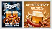 Beer Fest October German Banner Concept. Realistic Illustration Of Beer Fest October Party German Ve poster